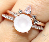 2 Ct Round White Moonstone Solitaire Ring Women Jewelry 14K Rose Gold Plated