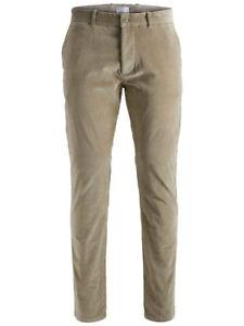 Trousers Jack & Jones 12142834 Slim Fit Velvet Velour Ribbed Chino Beige Grey
