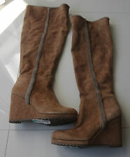 L.K. Bennett Women Boots Suede/Leather Knee High Tan Brown Size 10 $695