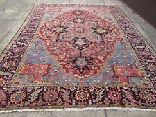 Antique Worn Traditional Hand Made Vintage Oriental Wool Red Carpet 346x270cm