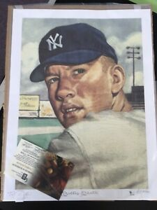 MICKEY MANTLE signed 1953 TOPPS ARTWORK limited edition litho 9