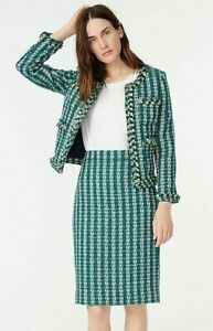 J Crew~Lady Jacket Size 16~Emerald Green~Tweed~Skirt Suit~Size 14~Spicy Jade~NWT