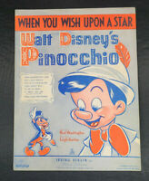 1940 WALT DISNEY'S PINOCCHIO MOVIE SHEET MUSIC ~ WHEN YOU WISH UPON A STAR ~ EUC