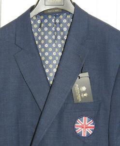 "AUSTIN REED Slim Fit Wool Blend Navy 2btn Blazer w/Union Jack 46 Reg (45"") *NWT*"