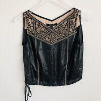BCBG MaxAzria Womens Blouse Top XS Black Lace Inset Drawstring Sheer Callista
