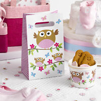 5 x Baby Shower Party Favour Bags Little Owls Pink Girls Christening FREE P&P