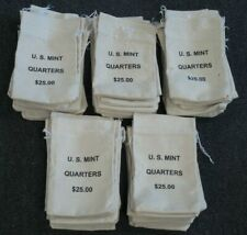 Lot of 50 - U.S. Mint $25 Canvas Quarter Bags