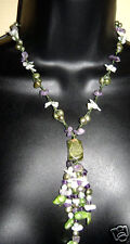 "Gemstone Tassel Necklace 18"" with Amethyst, Pearls, MOP NWT"
