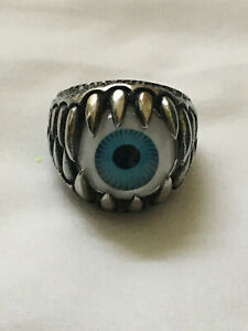 BLUE EYEBALL W/ TEETH  RING 316L STAINLESS STEEL - BIKER GOTHIC