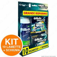 Gillette Mach3 10 Lamette Di Ricambio Per Rasoio con Schiuma da Barba 250ml