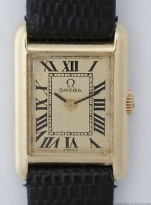 Rare 1970s 14k Gold Omega Tanc Rectangular Ladies Wrist Watch