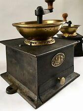 RARE+PRISTINE Antique/Vintage J&W FINDLAY English Iron+Brass Coffee Mill/Grinder