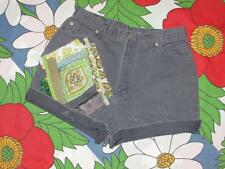 Vintage high waist cut off jeans shorts handmade uPcycle fabric art collage gray