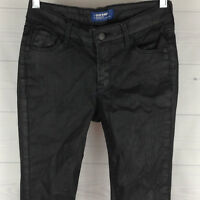 Old Navy ROCKSTAR Womens Size 0 SUPER SKINNY STRETCH Mid Rise Black COATED Jeans