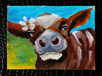 "Original art by Bastet ""Ginger Cow"" OOAK hand painted ACEO"