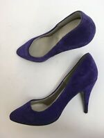 WOMENS FAITH ELEGANCE PURPLE SUEDE SLIP ON HIGH HEEL COURT SHOES UK 5.5