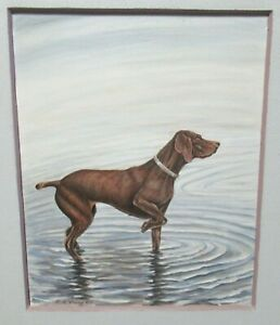 E.R.YOUNG VINTAGE ORIGINAL OIL ON BOARD DOG IN WATER PAINTING DATED 1964