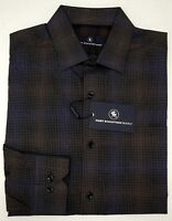 NWT $98 Hart Schaffner Marx Plaid Shirt Mens Size M Long Sleeve Blue Brown NEW