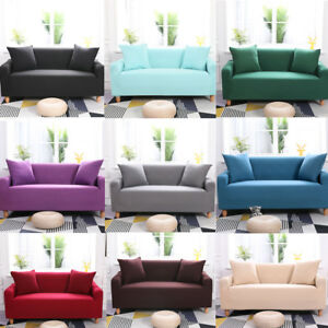 Sofa Cover Solid Colour Slipcover Soft Seat Couch Cover Protector Black Grey