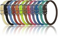 Genuine Leather Collar Rolled Round Soft Padded Dogline 12 Colors Made in Europe
