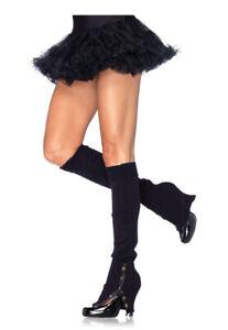 Black Knitted Leg Warmers W/Button Side, 80's Fancy Dress, Dancer, Dance Wear