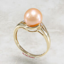 14k Solid Yellow Gold Genuine AAA Pink Cultured Pearl Cocktail Diamonds Ring TPJ