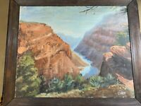 "Antique G.W.P 1940 ""The Grand Canyon"" Oil On Canvas Painting - Signed And Framed"