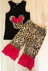 Girls Minnie Inspired 2-PC Boutique Ruffled Set, Hot Pink Cheetah, NEW 6 YRS