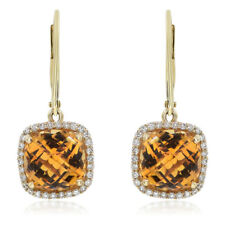 14K YELLOW GOLD PAVE DIAMOND CITRINE HALO CHECKERBOARD DROP DANGLE EARRINGS