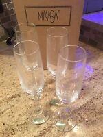NIB Vintage MIKASA Flutes Germany Champagne Glass  Wine Flutes # 91502 (set of 4