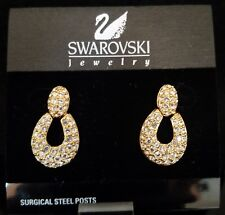 SWAROVSKI GOLD EARRINGS DOOR KNOCKER WITH PAVE *NEW*