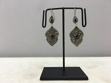 Lapis Dangle Earrings Middle Eastern Earrings Sterling Silver Etched Blue