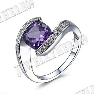 Fine Jewelry Tension Set Cushion 8x8mm Amethyst Real Diamond Ring 14k White Gold