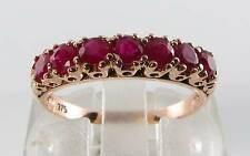 CLASS 9CT ROSE GOLD INDIAN RUBY ETERNITY ART DECO INS RING FREE SIZE