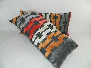 Mod Mid Century Rectangle Pillows Gray Red Orange Set Of 2 Geo Lines Design