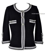Beautiful Chanel 10C Classic Black Cashmere Cardigan Sweater Jacket NEW 36