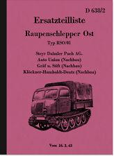 Steyr Raupenschlepper Ost RSO/01 Ersatzteilliste HDV Dienstvorschrift Wehrmacht