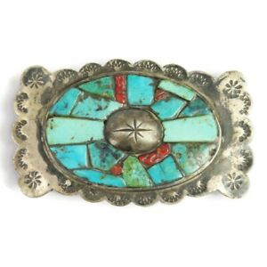 Vintage Hammered Silver Turquoise and Coral Mosaic Belt Buckle