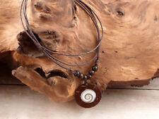 Kette mit Anhänger Shiva Auge Kokos Holz verstellbar NEU