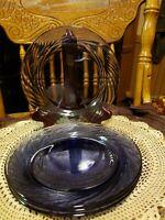 "(4) Vintage Pyrex Festiva Glass Amethyst Purple Salad Plates Swirl Rims 7 3/4"""