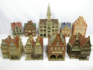 Vollmer H0 Häuser Konvolut Fachwerkhäuser 9-teilig / fertig gebaut