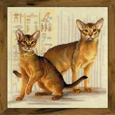 """Cross Stitch Kit Riolis 1671 - """"Abyssinian cats"""""""