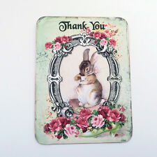 NEW Rabbit Thank You Vintage Tea Party Baby Shower Note Cards 6 with Envelopes
