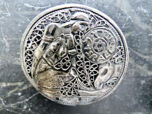 Vintage Bezalel Sterling Silver Figural Filigree Brooch Biblical REBECCA 8g Sign