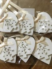 3 X Handmade Christmas Decorations Shabby Chic Christmas Tree Cream Neutral