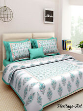 Handmade Indian Hand Block King Size Pure Cotton Bed Sheet Two Pillow Covers Set