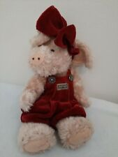 Boyds Bears 1985 - 97 The Boyds Collection Pig bearwear red overalls with bow
