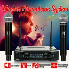 Pro 2 Channel UHF Wireless Dual Handheld Cordless Microphone System Party US