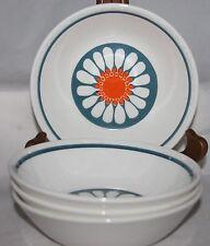 "4 Vintage BERRY BOWLS soup orange blue DAISY Figgjo Flint Turi Design Norway 6"""