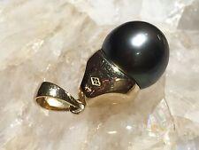 14 K Yellow Gold Black Pearl Pendant #1146